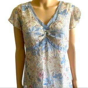 OH BABY by Motherhood Blue Floral Blouse